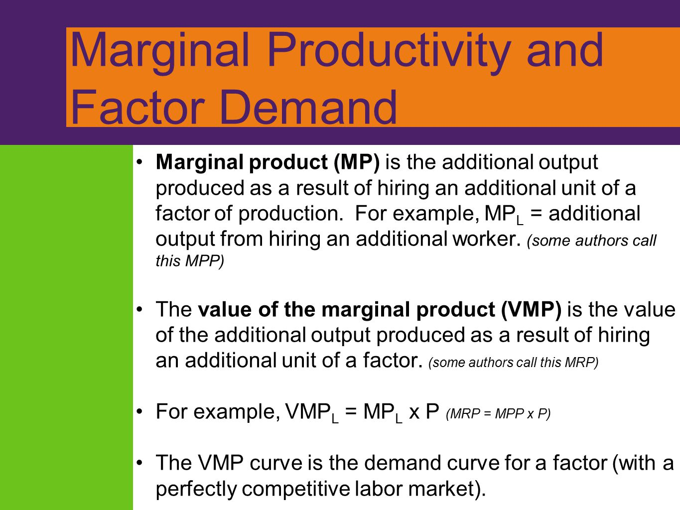 Marginal Productivity and Factor Demand