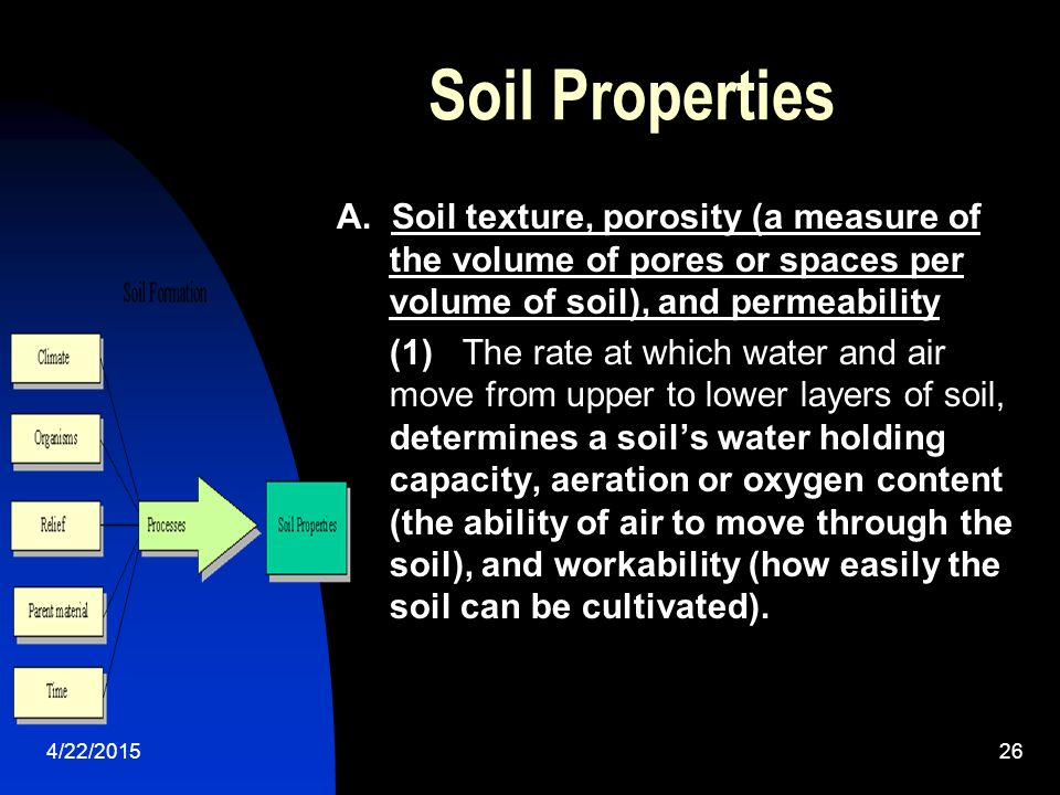 Soil Properties A. Soil texture, porosity (a measure of the volume of pores or spaces per volume of soil), and permeability.