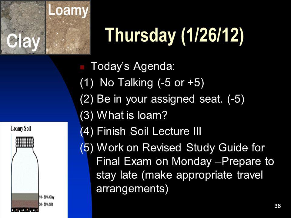 Thursday (1/26/12) Today's Agenda: (1) No Talking (-5 or +5)