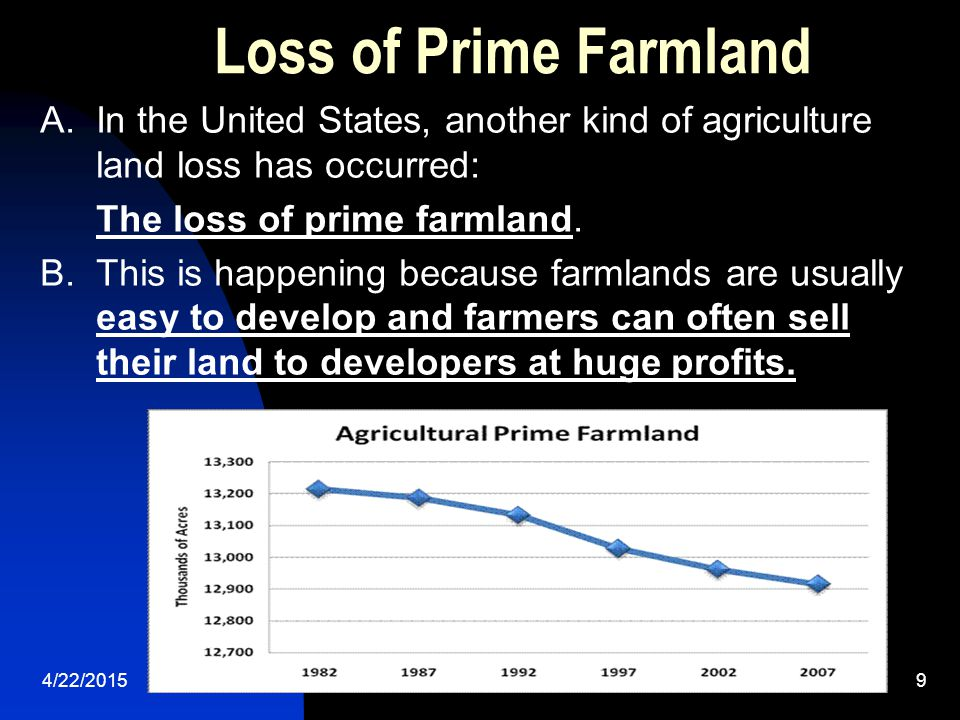 Loss of Prime Farmland A. In the United States, another kind of agriculture land loss has occurred:
