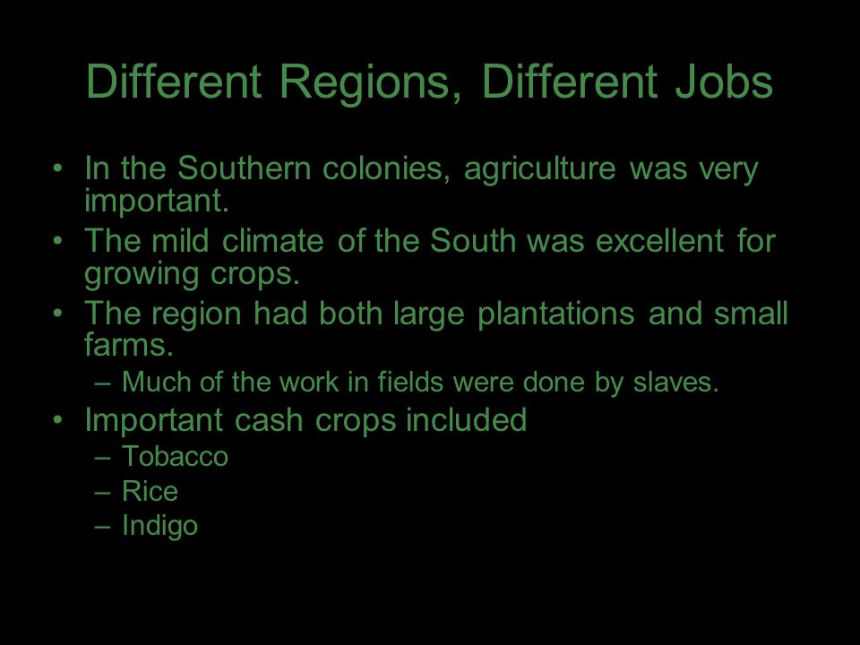 Different Regions, Different Jobs