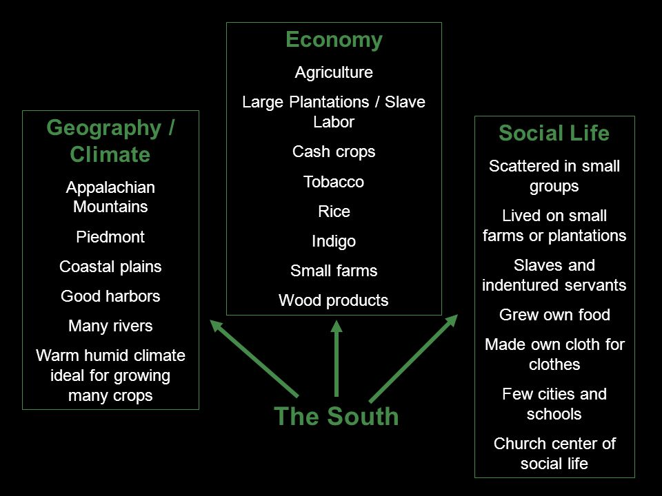 The South Economy Geography / Climate Social Life Agriculture