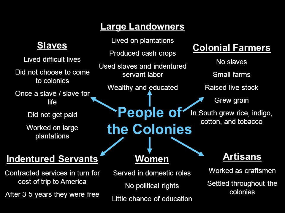 People of the Colonies Large Landowners Slaves Colonial Farmers