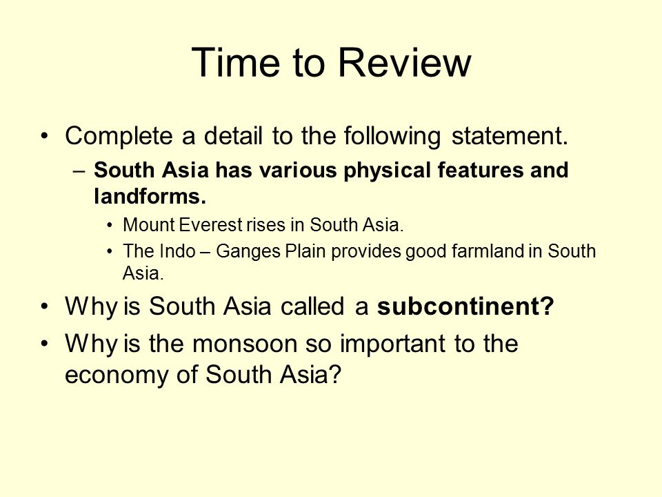 Time to Review Complete a detail to the following statement.