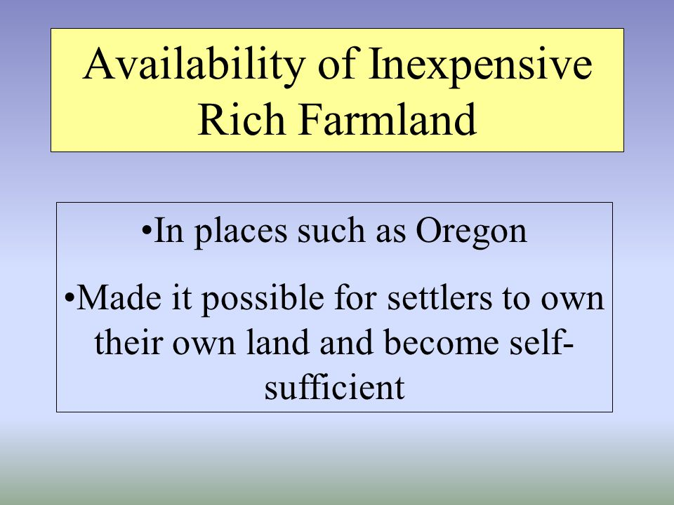 Availability of Inexpensive Rich Farmland