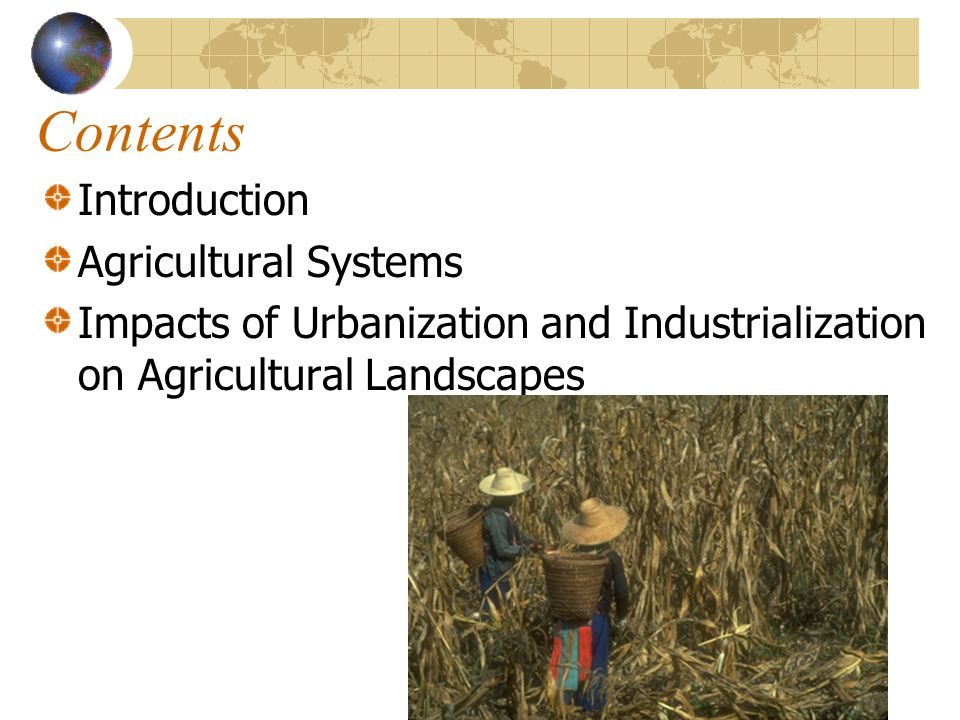 Contents Introduction Agricultural Systems