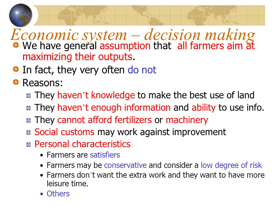 Economic system – decision making