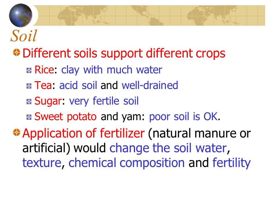 Soil Different soils support different crops