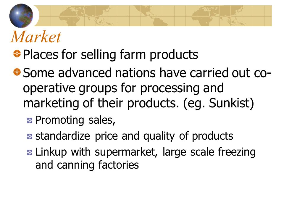 Market Places for selling farm products