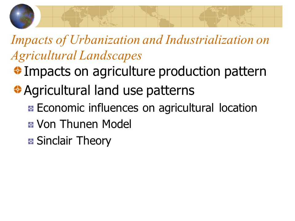 Impacts on agriculture production pattern