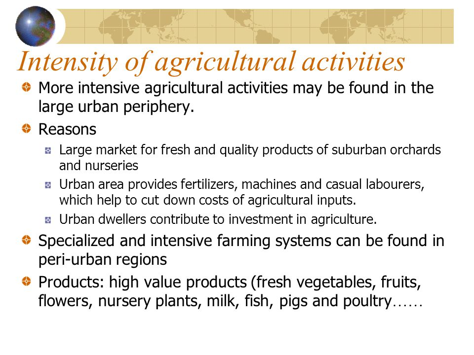 Intensity of agricultural activities
