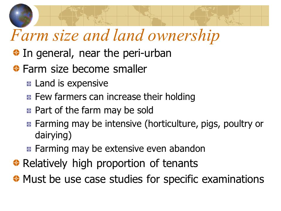 Farm size and land ownership