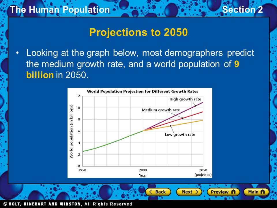 Projections to 2050 Looking at the graph below, most demographers predict the medium growth rate, and a world population of 9 billion in 2050.