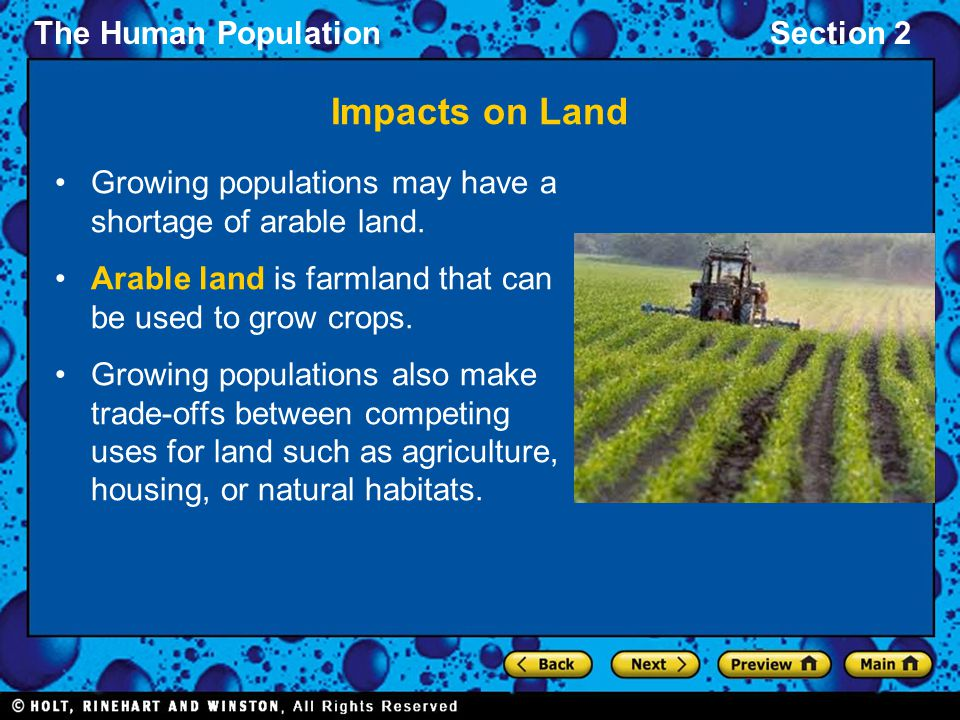 Impacts on Land Growing populations may have a shortage of arable land. Arable land is farmland that can be used to grow crops.
