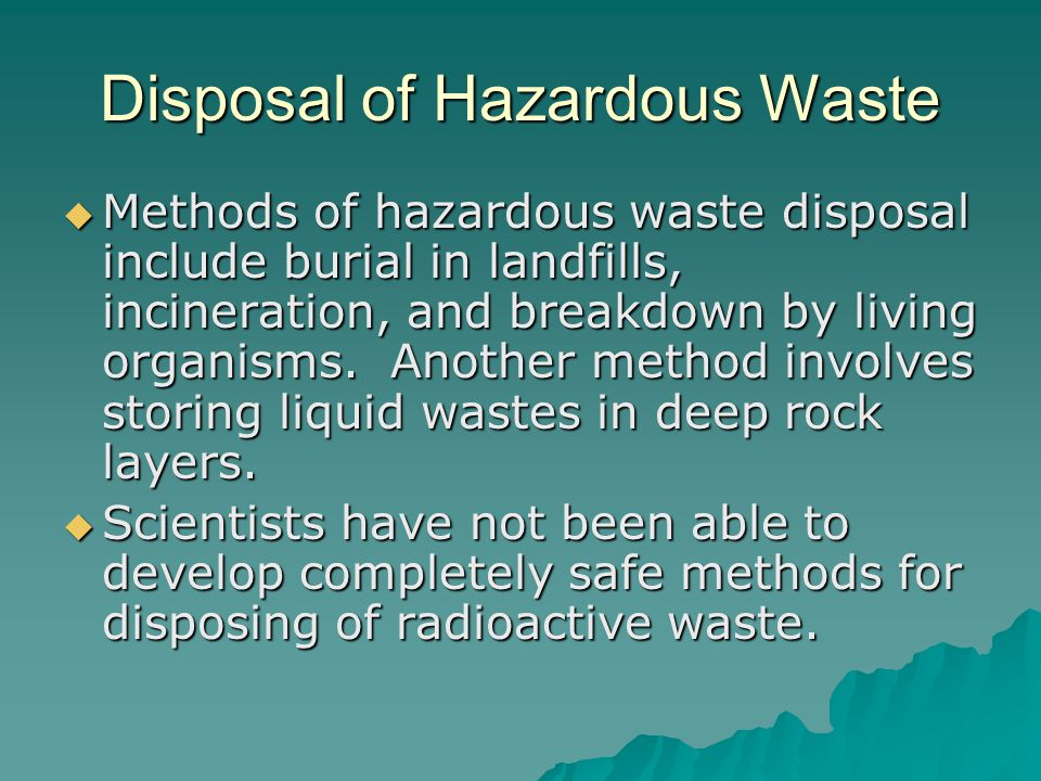 Disposal of Hazardous Waste