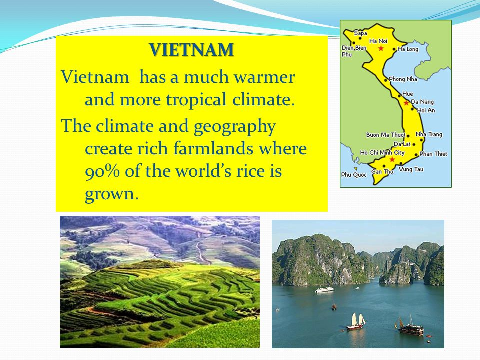 VIETNAM Vietnam has a much warmer and more tropical climate