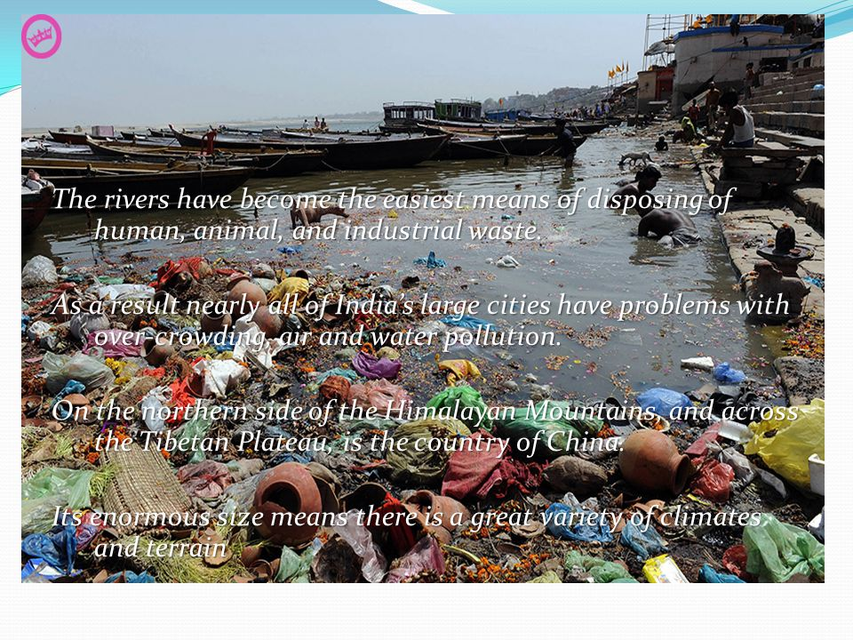 The rivers have become the easiest means of disposing of human, animal, and industrial waste.