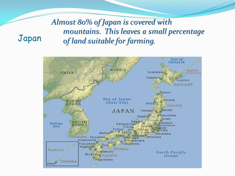 Almost 80% of Japan is covered with mountains