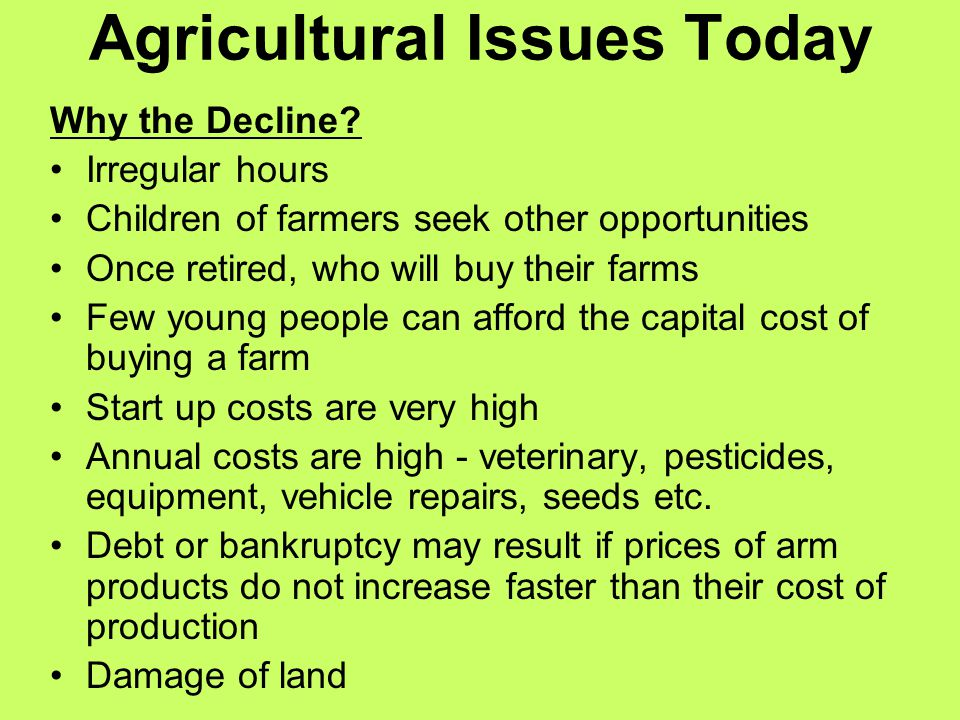 Agricultural Issues Today