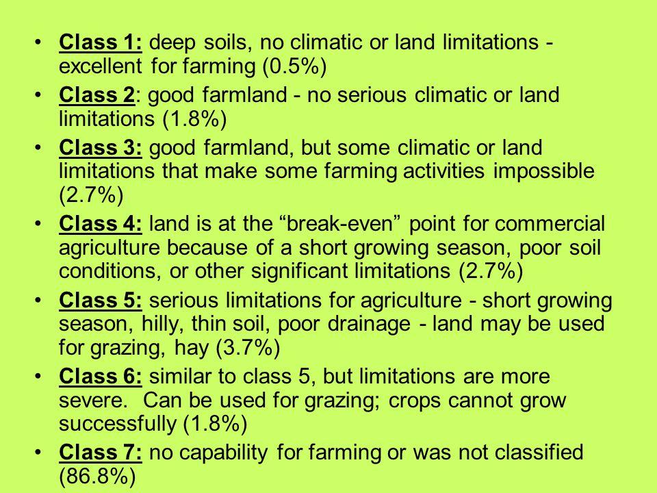 Class 1: deep soils, no climatic or land limitations - excellent for farming (0.5%)