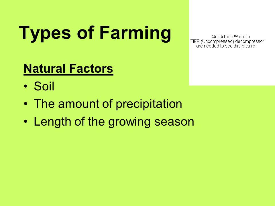 Types of Farming Natural Factors Soil The amount of precipitation