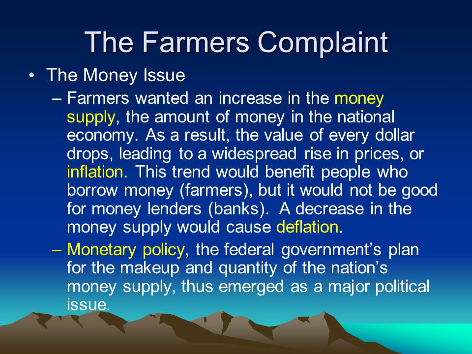 The Farmers Complaint The Money Issue