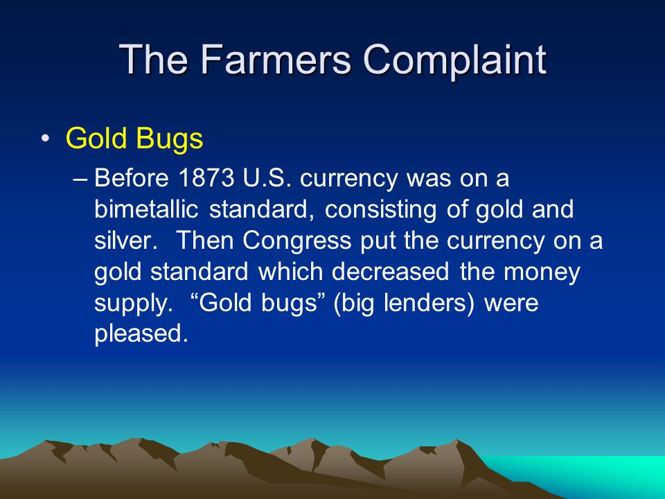 The Farmers Complaint Gold Bugs
