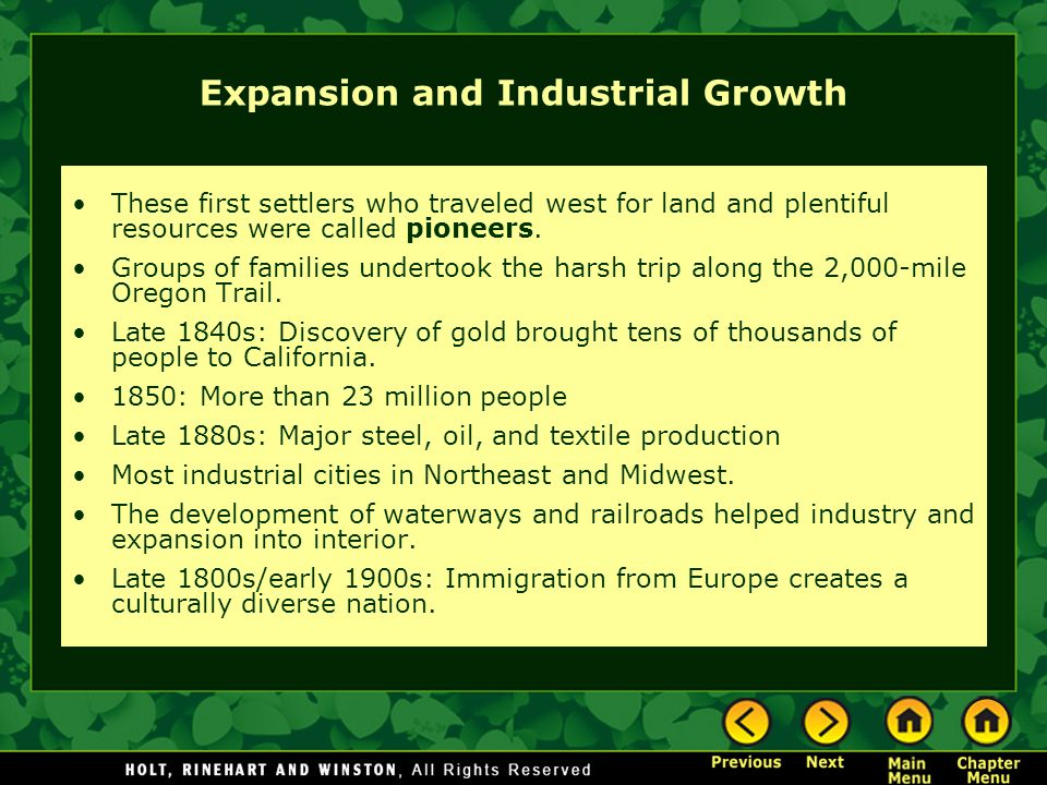 Expansion and Industrial Growth