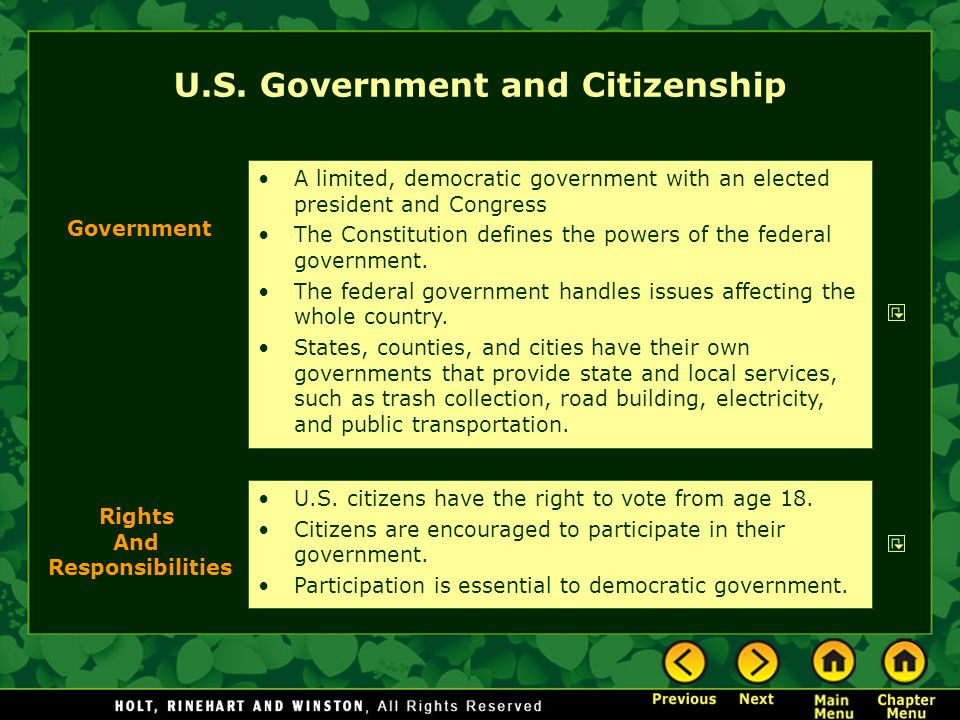 U.S. Government and Citizenship