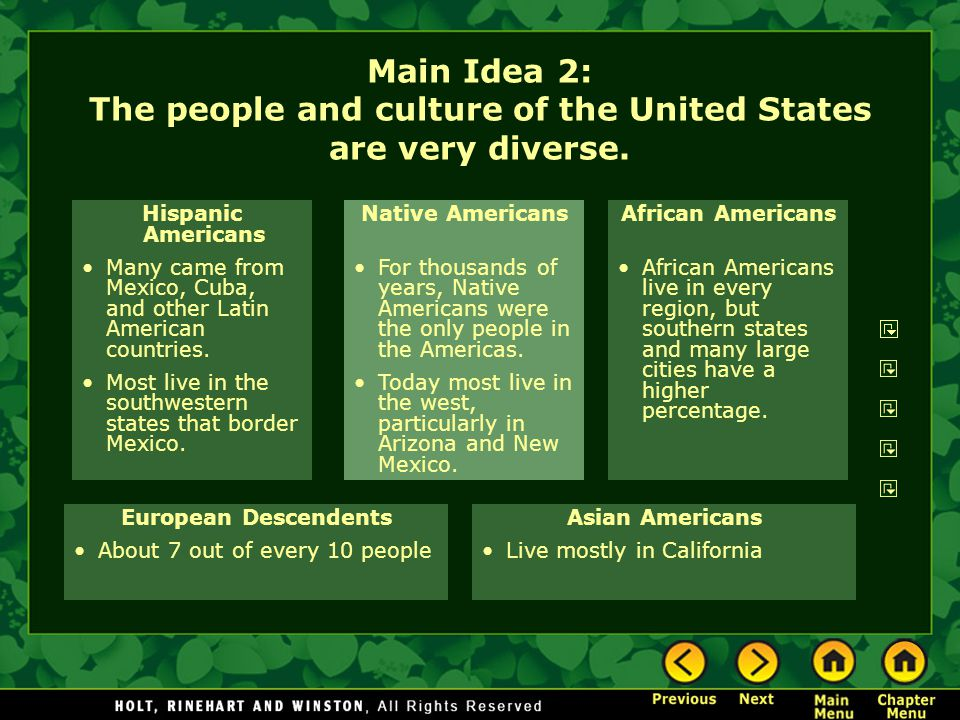 Main Idea 2: The people and culture of the United States are very diverse.