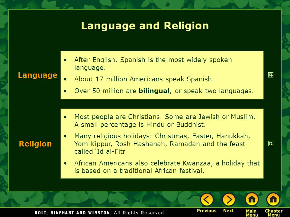 Language and Religion Language Religion