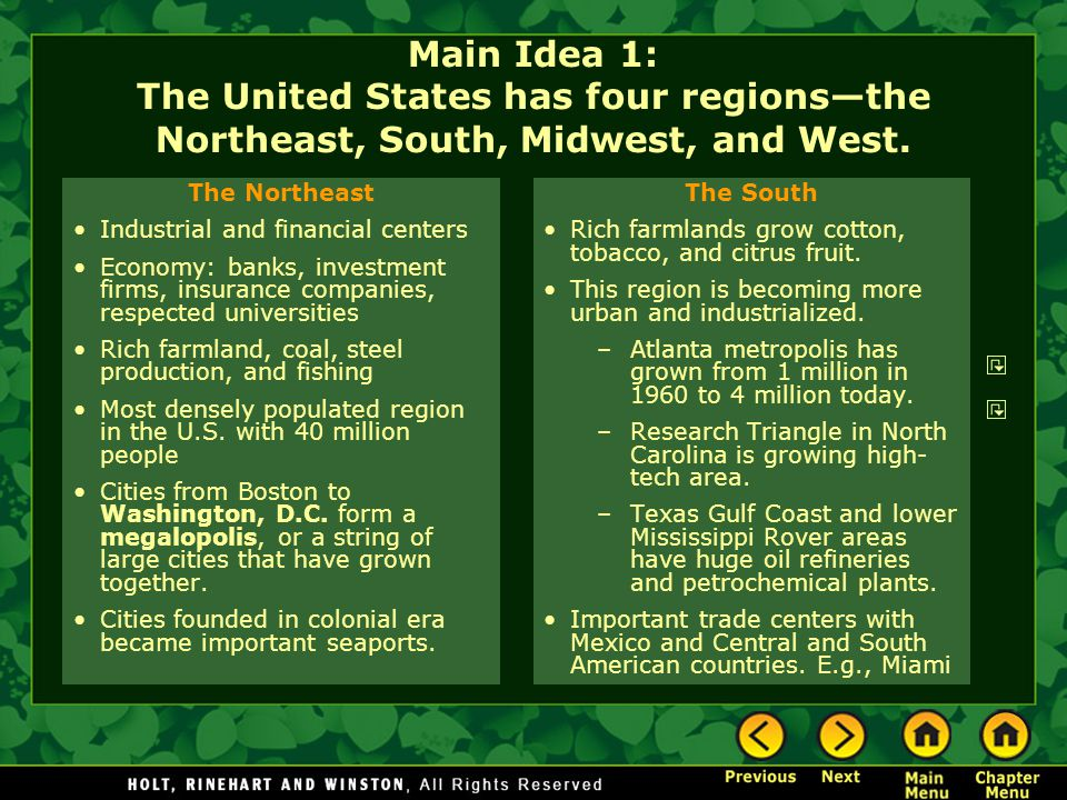 Main Idea 1: The United States has four regions—the Northeast, South, Midwest, and West.