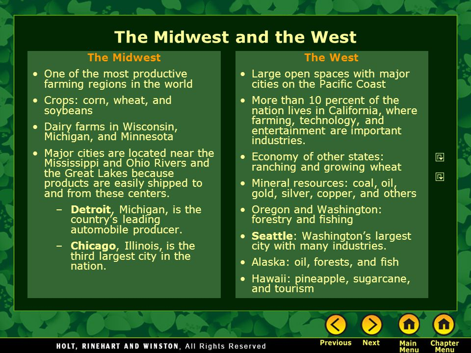 The Midwest and the West