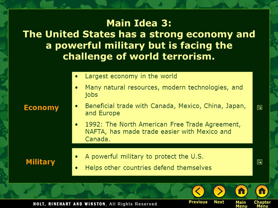 Main Idea 3: The United States has a strong economy and a powerful military but is facing the challenge of world terrorism.