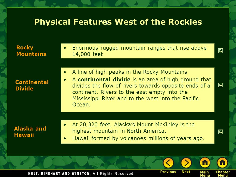 Physical Features West of the Rockies
