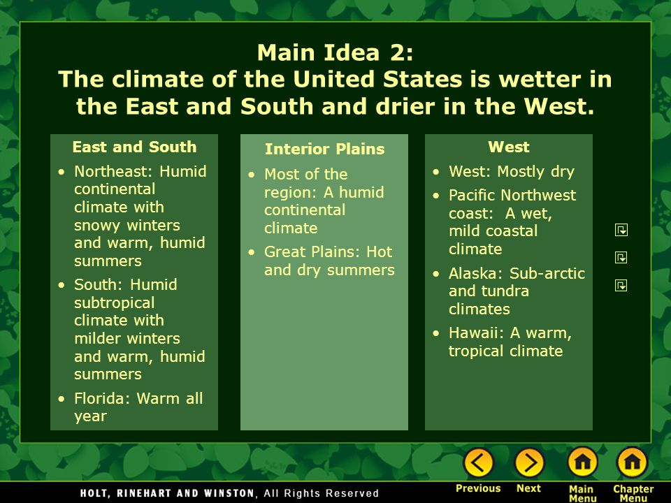 Main Idea 2: The climate of the United States is wetter in the East and South and drier in the West.