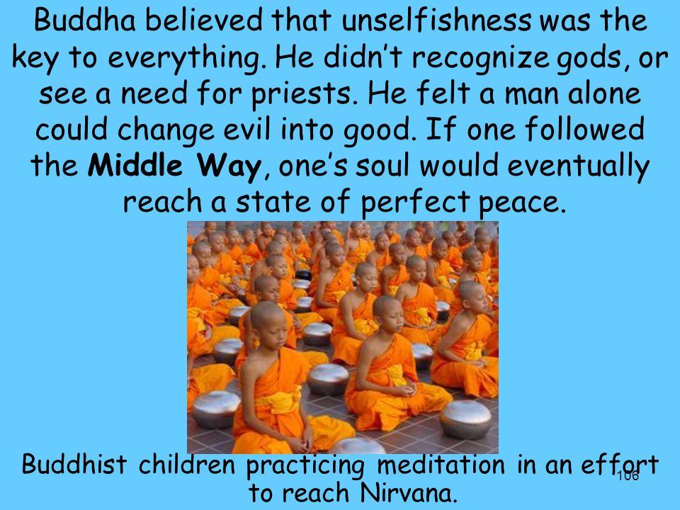 Buddhist children practicing meditation in an effort to reach Nirvana.