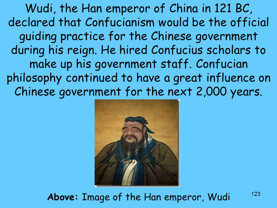 Above: Image of the Han emperor, Wudi