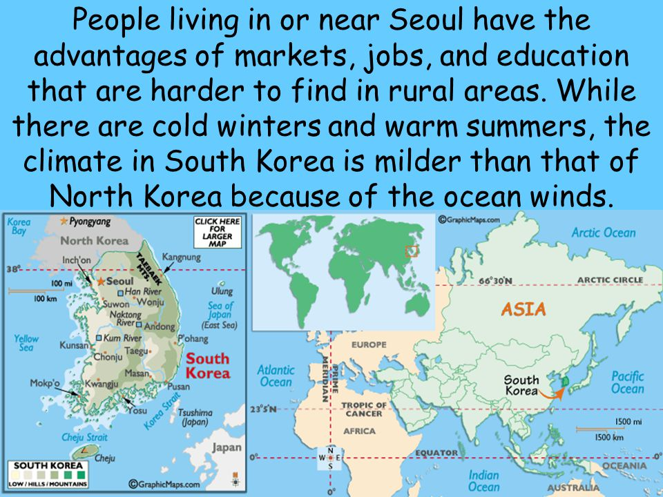 People living in or near Seoul have the advantages of markets, jobs, and education that are harder to find in rural areas.