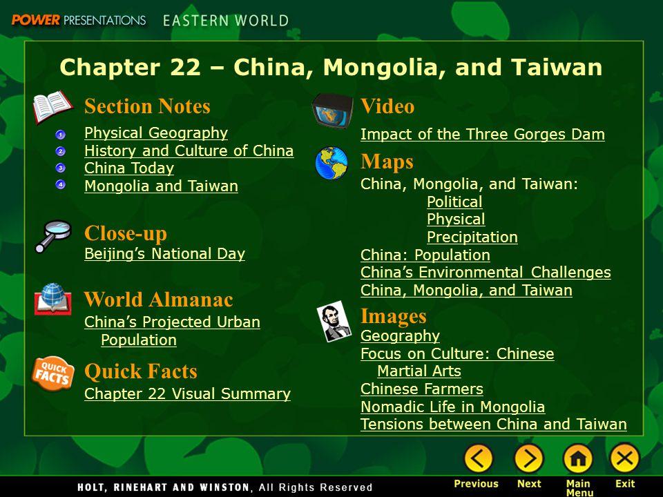 Chapter 22 – China, Mongolia, and Taiwan