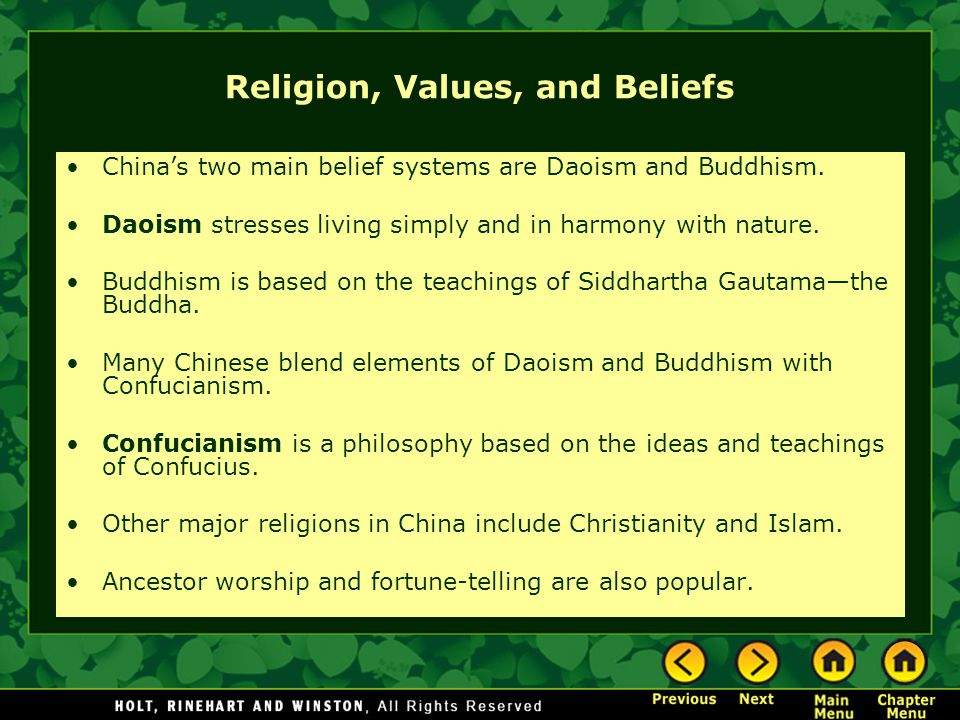 Religion, Values, and Beliefs