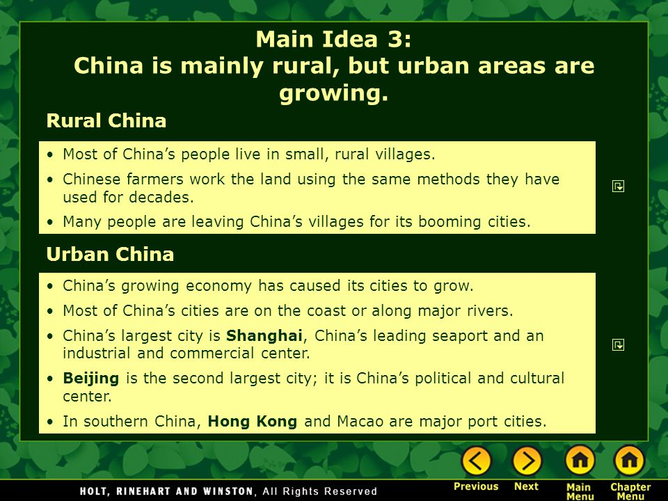 Main Idea 3: China is mainly rural, but urban areas are growing.