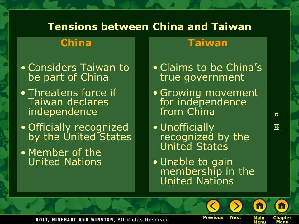 Tensions between China and Taiwan