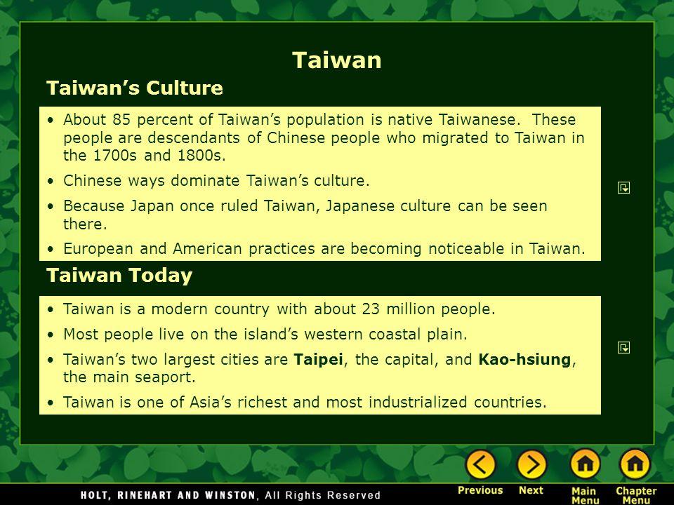 Taiwan Taiwan's Culture Taiwan Today