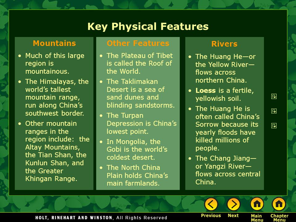 Key Physical Features Mountains Other Features Rivers