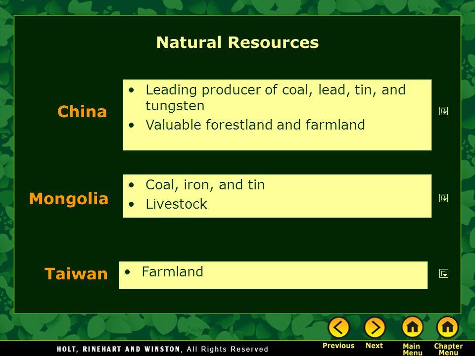 Natural Resources China Mongolia Taiwan