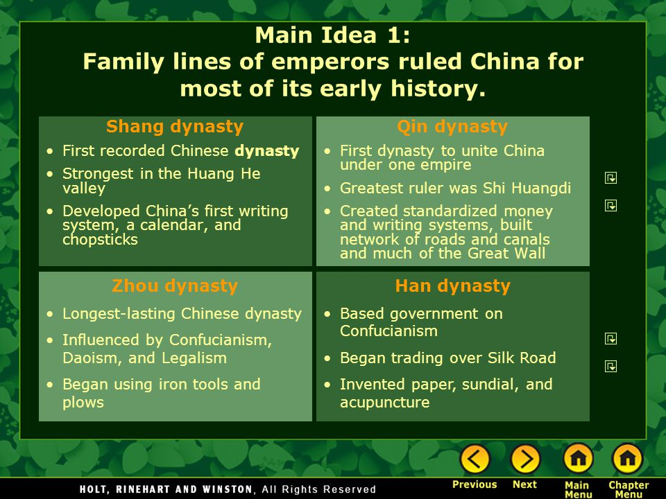 Main Idea 1: Family lines of emperors ruled China for most of its early history.