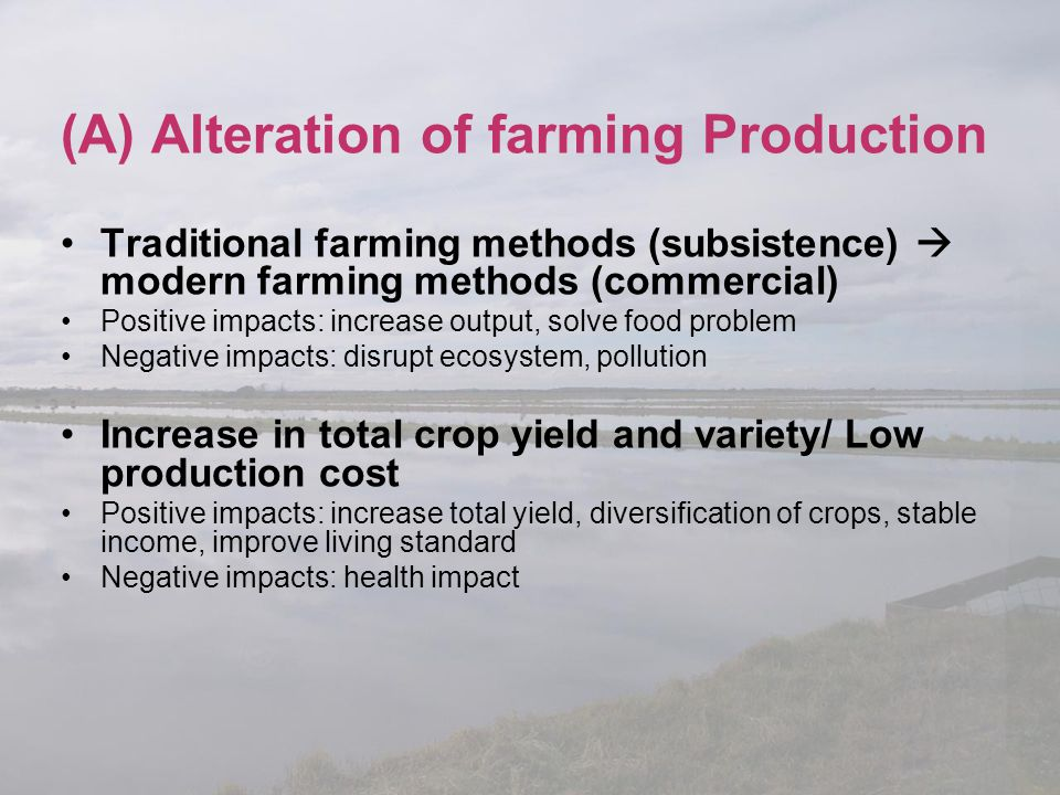 (A) Alteration of farming Production
