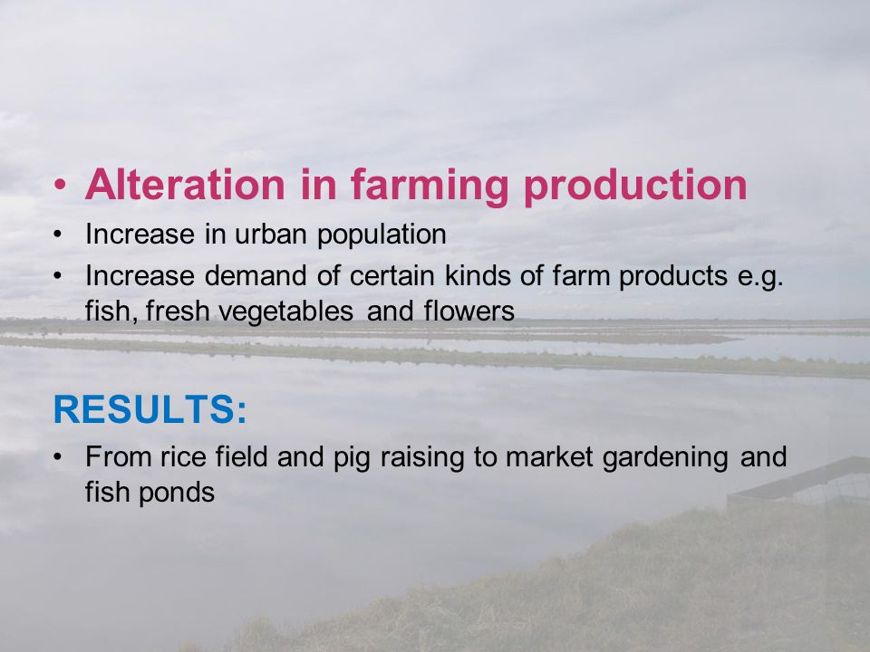 Alteration in farming production