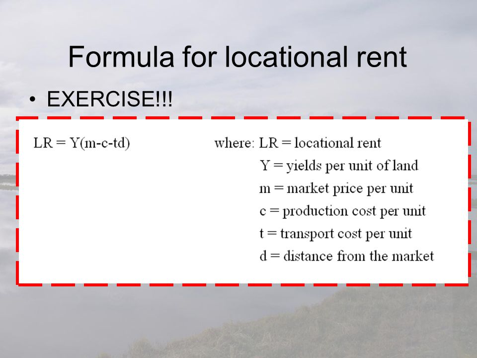 Formula for locational rent
